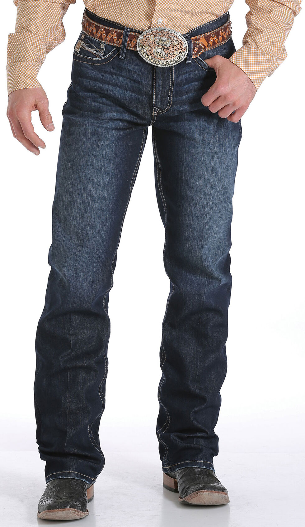 Cinch Men's Grant Mid Rise Performance Jeans - Relaxed Boot, Indigo, hi-res