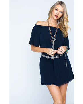 Glam Women's Unfinished Hem Off The Shoulder Dress , Navy, hi-res
