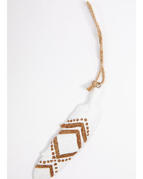BB Ranch Gold Aztec Feather Ornament, Gold, hi-res