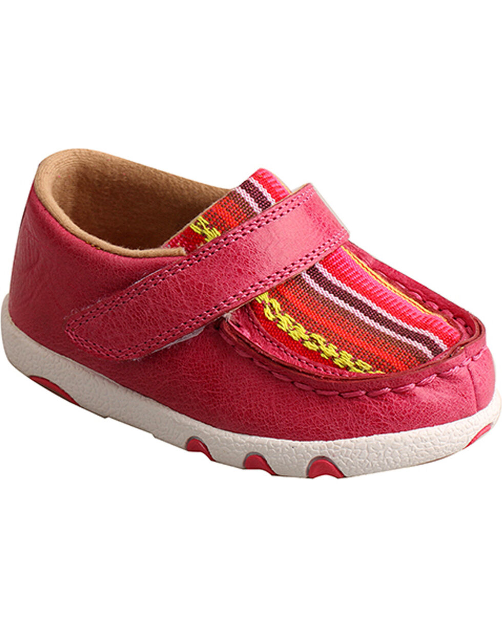 Twisted X Infant Girls' Pink Serape Canvas Driving Moc Shoes , , hi-res