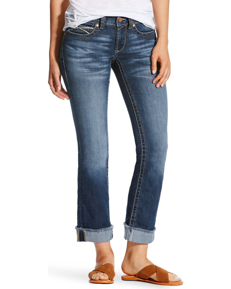 Ariat Women's R.E.A.L Baseball Stitch Stackable Straight Leg Jeans, Blue, hi-res