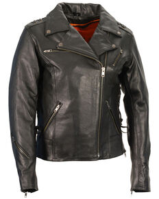 Milwaukee Leather Women's Lightweight Lace To Lace Motorcycle Leather Jacket - 5X, Black, hi-res