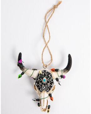 BB Ranch Black Glitter Cow Skull Ornament, Multi, hi-res