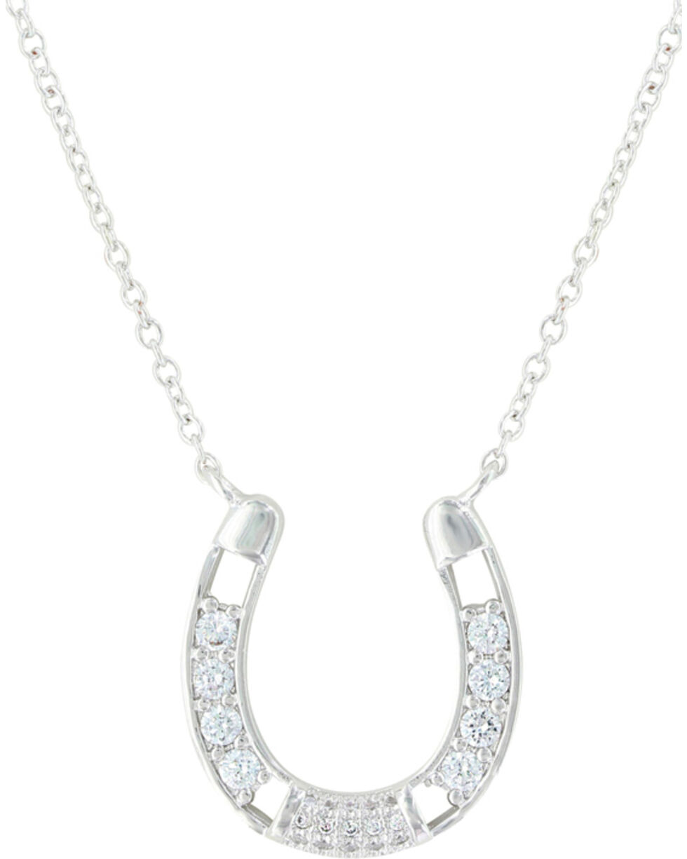 Montana Silversmiths Women's Fastened In Sparkles Horseshoe Necklace , Silver, hi-res