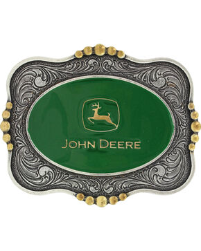 Montana Silversmiths Silver Scalloped John Deere Belt Buckle , Silver, hi-res