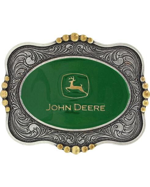 Montana Silversmiths Silver Scalloped John Deere Belt Buckle , Silver, hi-res