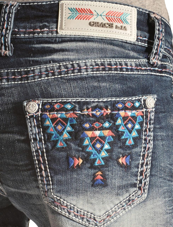 Grace in LA Blue Aztec Embroidered Cutoff Shorts, Denim, hi-res