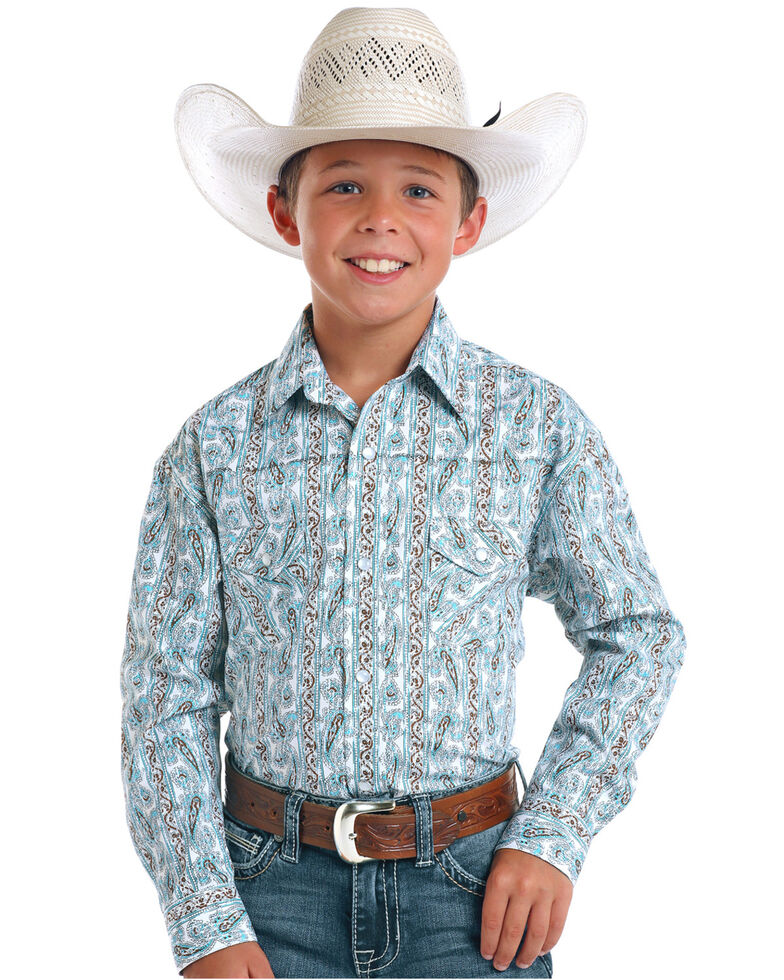Rough Stock by Panhandle Boys' Ferncroft Paisley Print Long Sleeve Western Shirt , Turquoise, hi-res