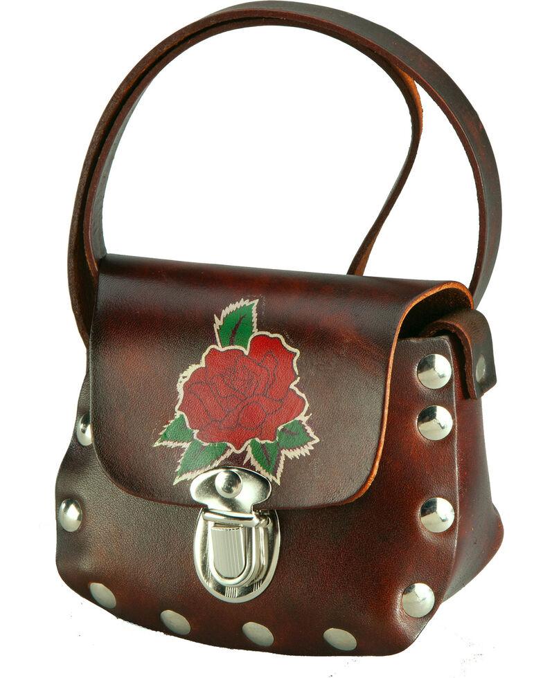 Western Express Women's Brown Leather Rose Applique Shoulder Bag , Brown, hi-res