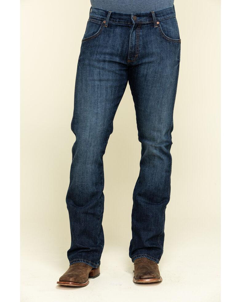 Wrangler Retro Men's Bronc Dark Stretch Slim Bootcut Jeans , Blue, hi-res