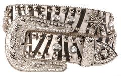 Blazin Roxx Bling Zebra Print Belt, Zebra, hi-res
