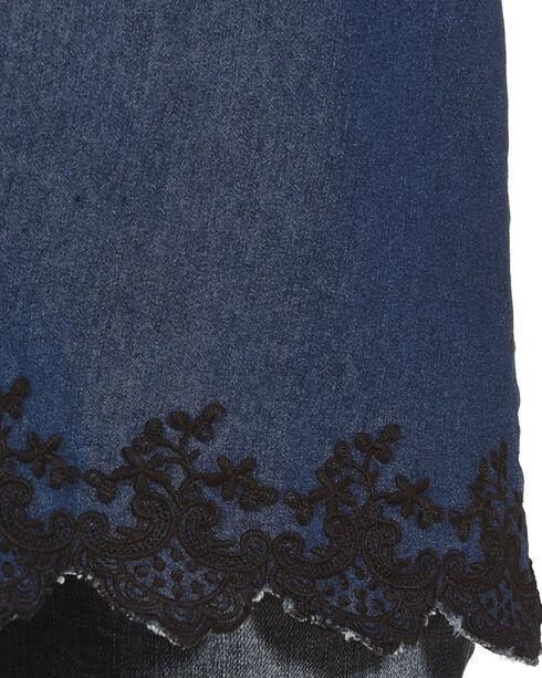 New Direction Sport Women's Blue Velvet Trim Top , Blue, hi-res