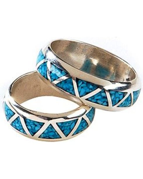 Silver Legends Turquoise Inlay Western Wedding Band, Silver, hi-res