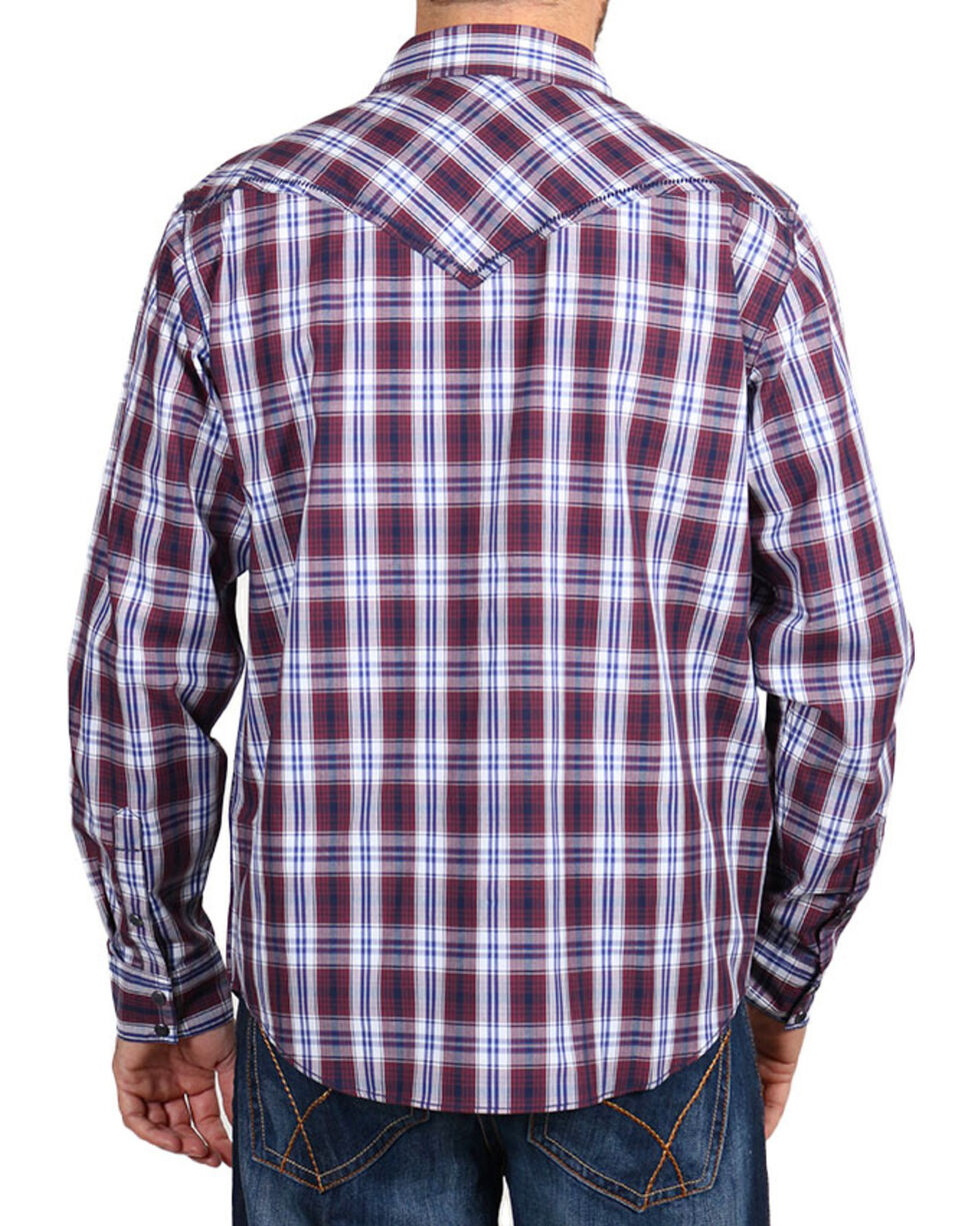 Cody James Men's Western Plaid Long Sleeve Shirt , Burgundy, hi-res