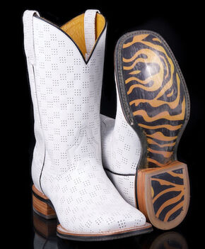 Tin Haul A Million Holes with Tiger Outsole Cowboy Boots - Square Toe, White, hi-res