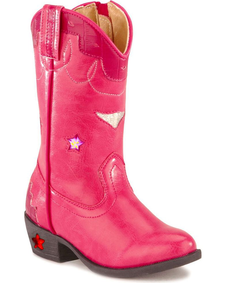 Smoky Mountain Toddler Girls' Stars Light Up Pink Boots, Hot Pink, hi-res