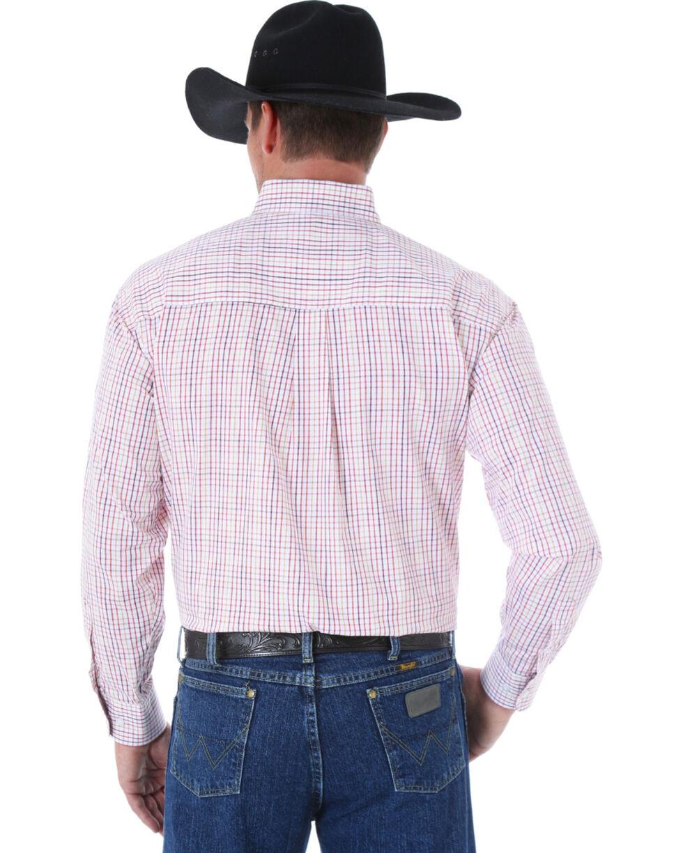 Wrangler George Strait Men's White and Burgundy Plaid Western Shirt, White, hi-res