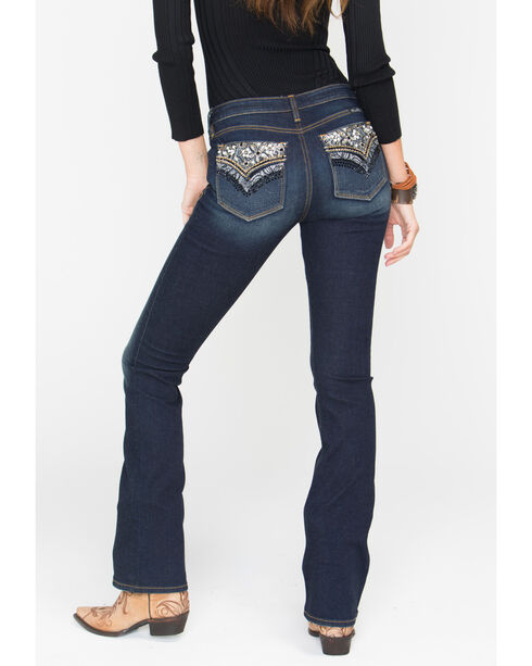 Miss Me Women's Faux Flap Pocket Jeans - Boot Cut, Dark Blue, hi-res