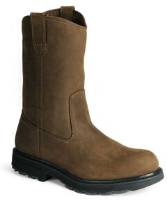 Wolverine Nubuck Wellington Pull-On Work Boots - Round Toe, Brown, hi-res