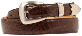 Double Barrel Gator Print Leather Belt, Brown, hi-res