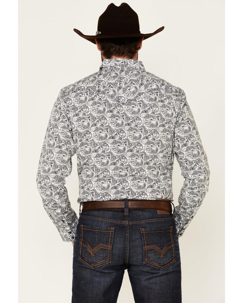 Moonshine Spirit Men's Ricochet Paisley Print Long Sleeve Snap Western Shirt  , White, hi-res