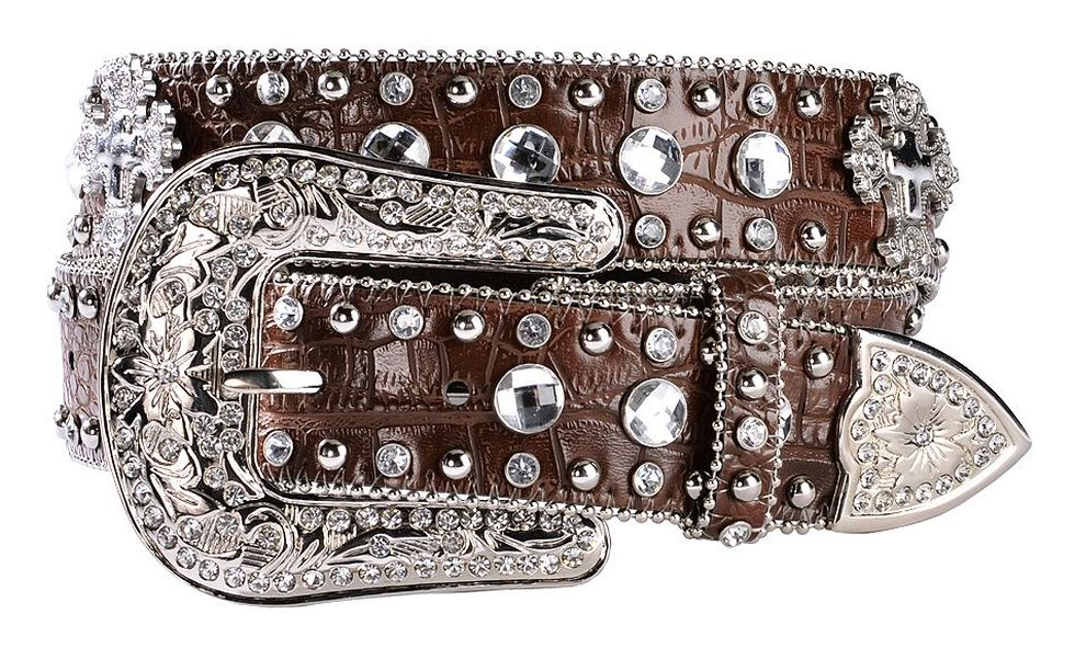 Blazin Roxx Crystal & Cross Concho Croc Print Leather Belt, Brown, hi-res
