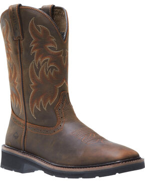 Wolverine Men's Rancher Wellington Work Boots, Dark Brown, hi-res