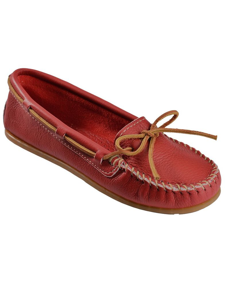 Women's Minnetonka Boat Moccasins, Red, hi-res