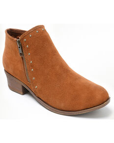 Minnetonka Women's Brie Side Zip Stud Booties - Round Toe, Brown, hi-res