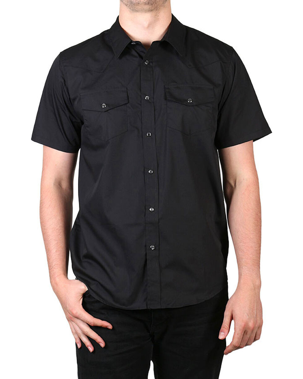Gibson Men's Solid Short Sleeve Shirt - Big & Tall, Black, hi-res