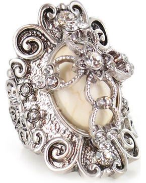 Shyanne Women's Bone Cross Stretch Ring, Silver, hi-res