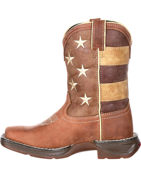 Lil' Rebel by Durango Youth Boys' Faded Glory Flag Boots - Square Toe , Brown, hi-res