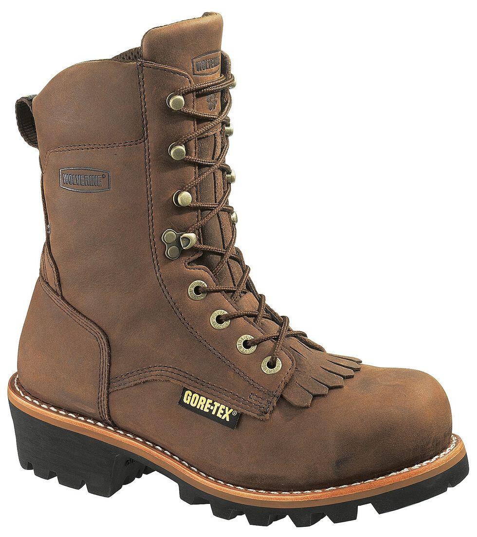 """Wolverine Chesapeake 8"""" Waterproof Logger Work Boots - Steel Toe, Brown, hi-res"""