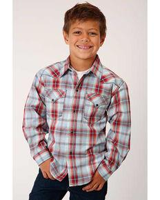 Roper Boys' Performance Sandstone Plaid Long Sleeve Western Shirt , Red, hi-res