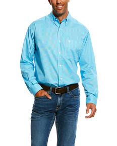 Ariat Men's Molson Stretch Geo Print Long Sleeve Western Shirt , Blue, hi-res