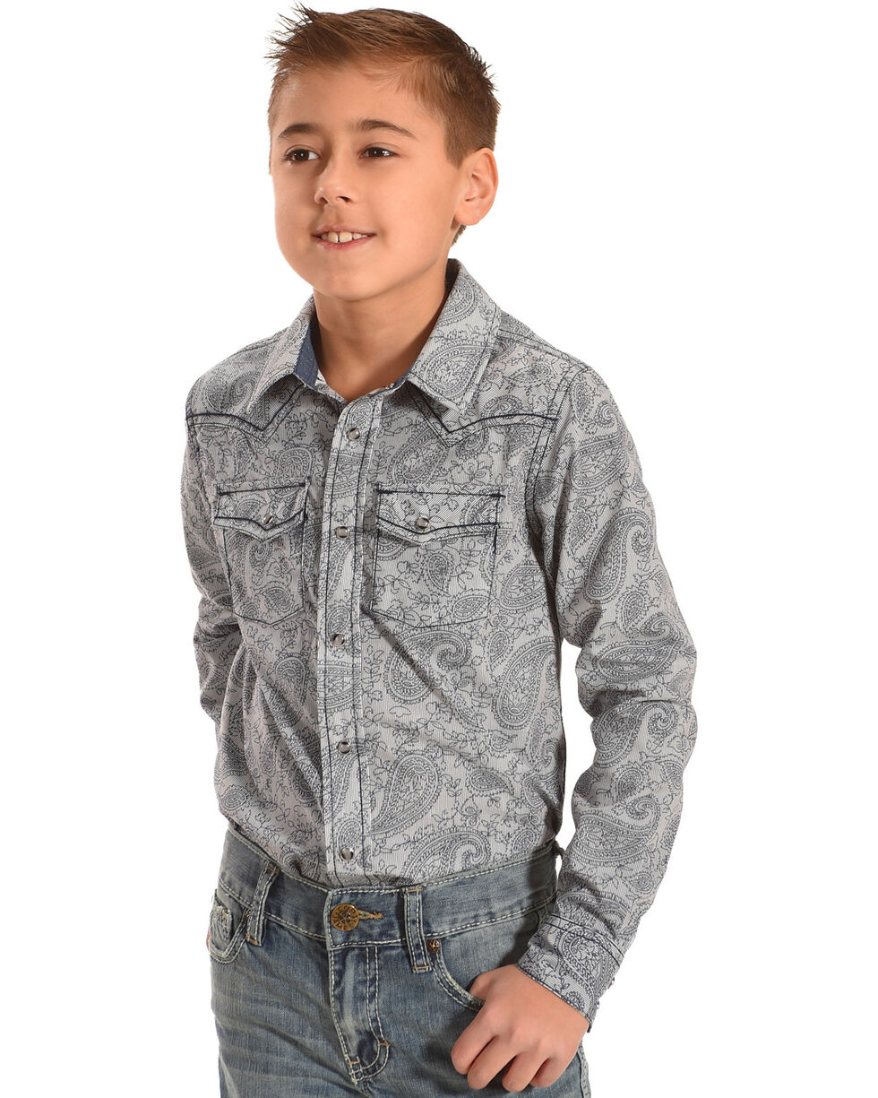 Cody James Boys' Thundercloud Printed Paisley Long Sleeve Shirt, Blue, hi-res