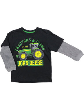 John Deere Boys' Black Tractor & Plows T-Shirt , Black, hi-res