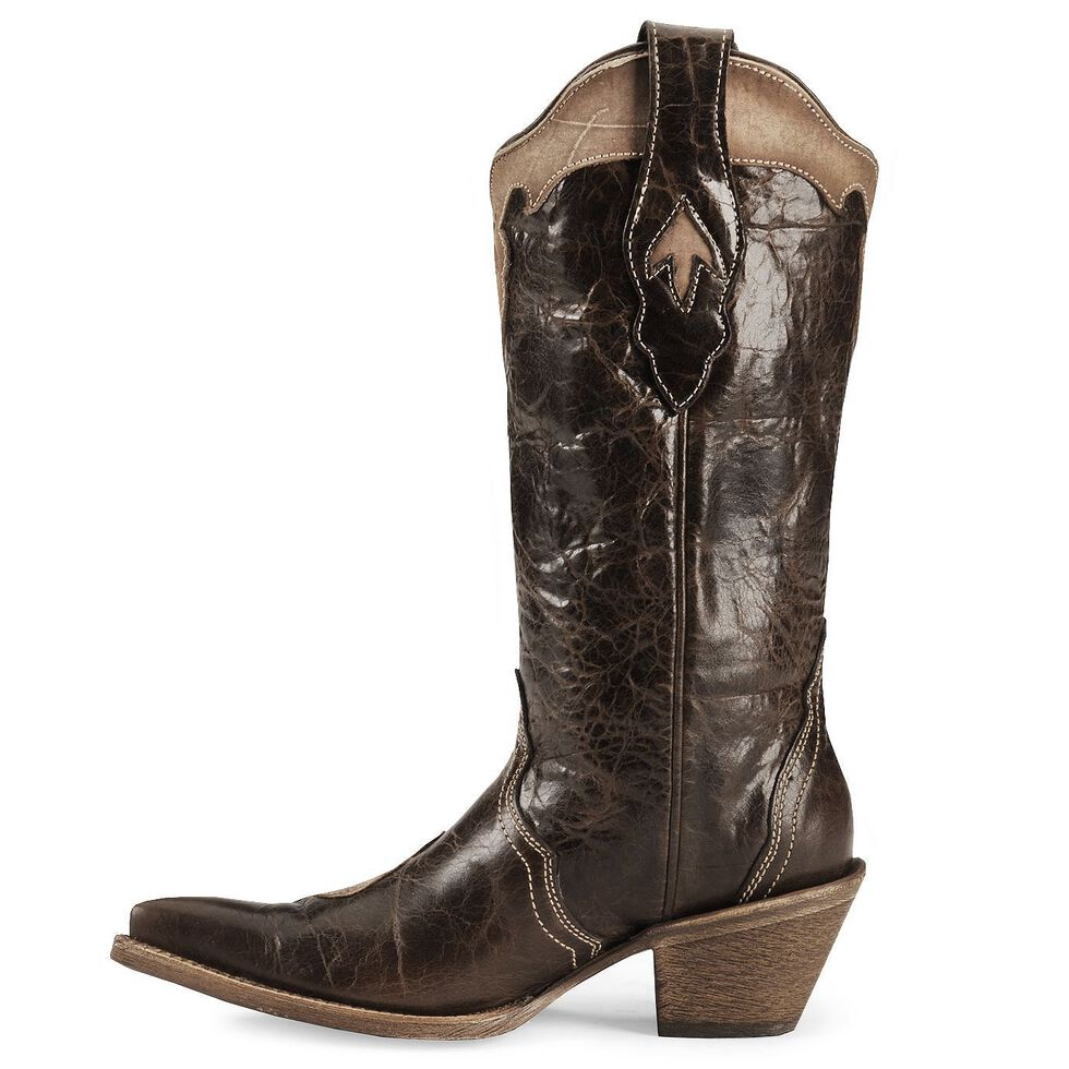 Corral Chocolate Tooled Cowgirl Boot - Pointed Toe, Chocolate, hi-res