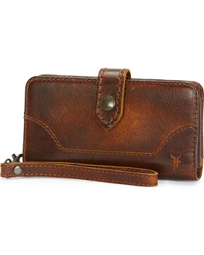 Frye Women's Melissa Phone Wallet , Dark Brown, hi-res