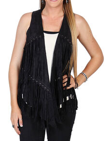 Vocal Women's Black Faux Suede Fringe Vest , Black, hi-res