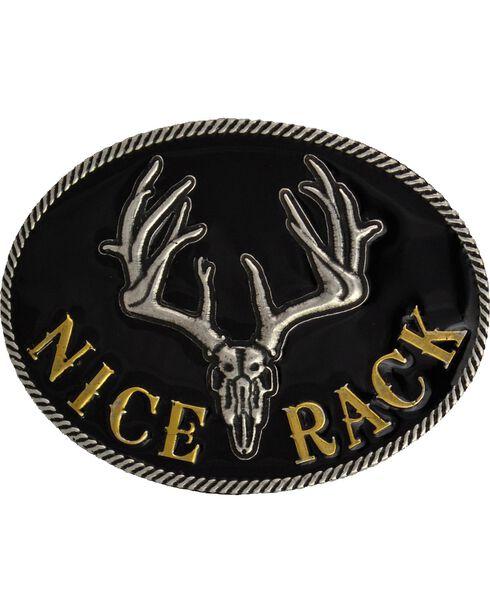 Montana Silversmiths Nice Rack Belt Buckle, Silver, hi-res