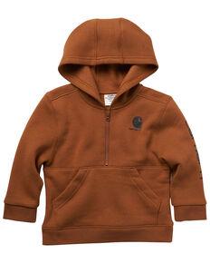 Carhartt Infant Boys' Brown Sleeve Logo 1/2 Zip Hooded Fleece Pullover , Brown, hi-res