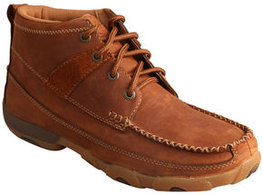 Twisted X Women's Oiled Saddle lace-Up Driving Shoes - Moc Toe , Brown, hi-res