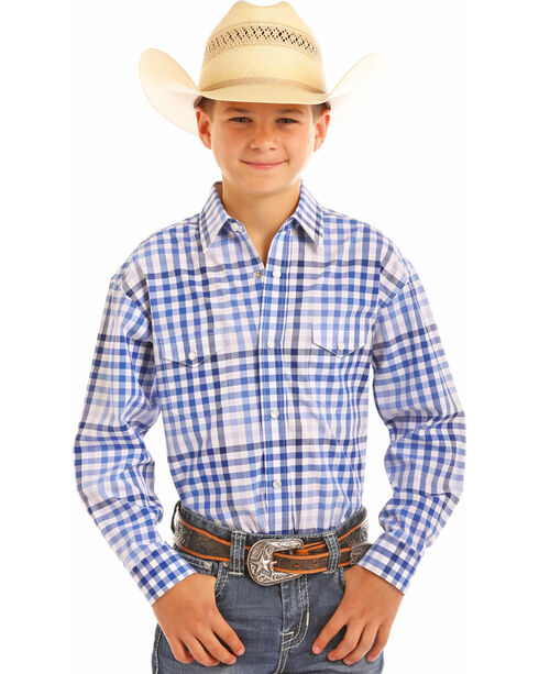 Panhandle Boys' Blue Yarndye Plaid Western Shirt , Royal Blue, hi-res