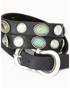 Leatherock Women's Black Amazonite Skinny Belt , Black, hi-res