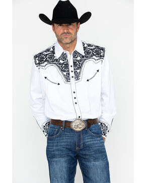 Scully Men's Western Woven Gunfighter Long Sleeve Shirt, Black/white, hi-res