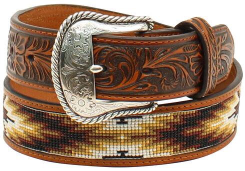 Nocona Men's Beaded Inlay Belt, Tan, hi-res