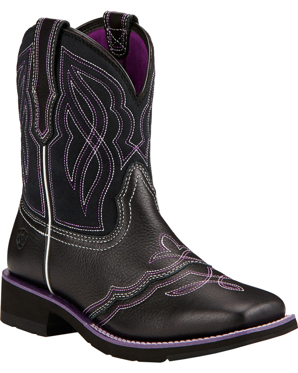 Ariat Ranchbaby II Cowgirl Boots - Square Toe , Black, hi-res