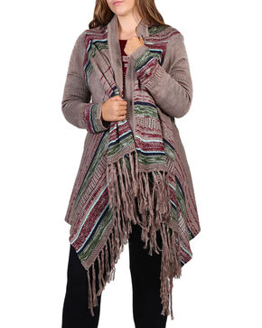 Umgee Women's Plus Striped Cardigan, Chocolate, hi-res
