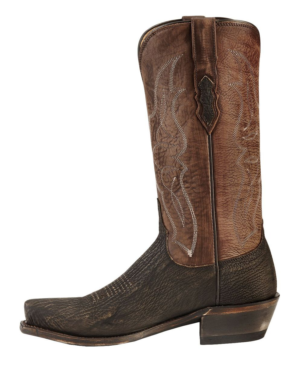 Lucchese Handmade 1883 Carl Sanded Shark Cowboy Boots - Square Toe, Chocolate, hi-res